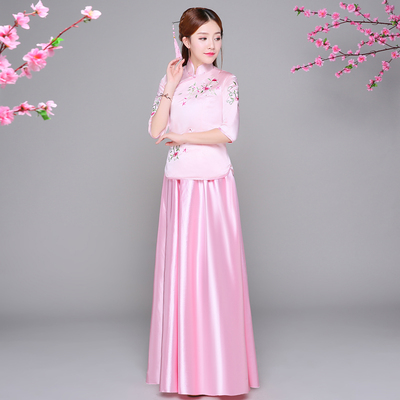 Chinese costume female Chinese wedding dress guzheng costume student chorus group service