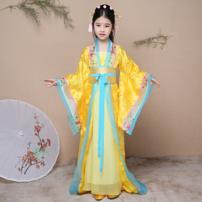 Chinese Folk Dance Dress Chinese style childrens ancient costume, Hanfu, imperial concubine, trailing female guzheng, Tang Dynasty palace princess fairy fairy COS costume