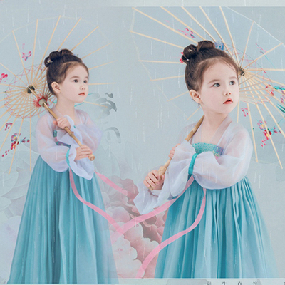 Chinese Folk Dance Dress Children's costume dress Tang suit Hanfu skirt Princess costumes
