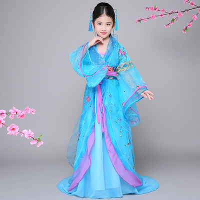Children's costumes trailing dresses costumes Hanfu Tang Dynasty court costumes, guzheng dance clothes