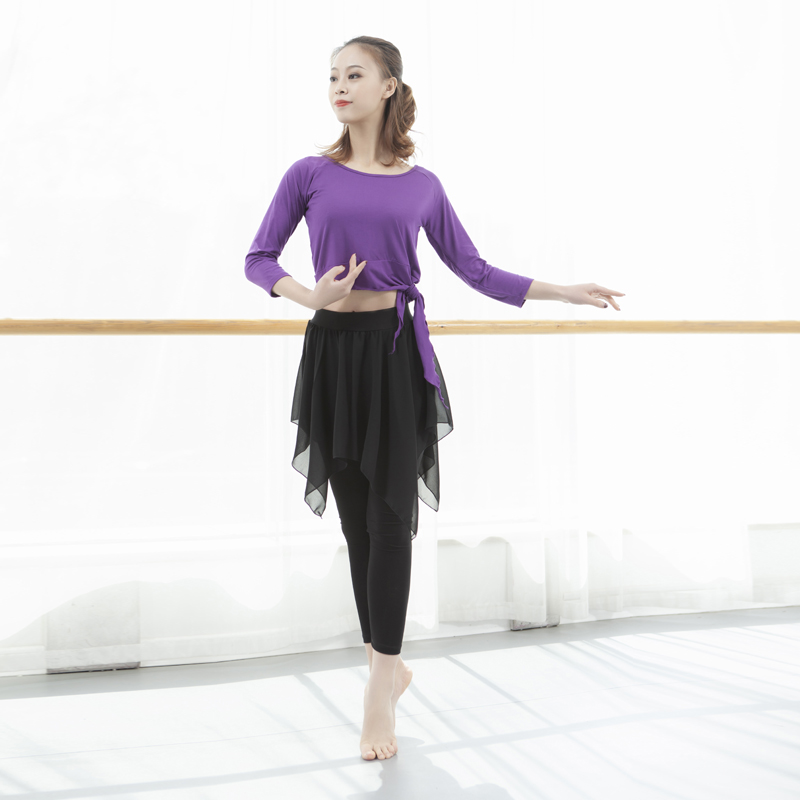 PURPLE TOP (SEVEN-QUARTER SLEEVES) + NINE-STRAP CULOTTES