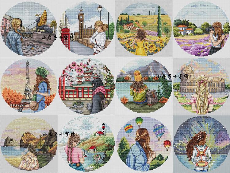 Tranh thêu chữ thập ngôi nhà nhỏ Bộ dây chuyền DMC của Pháp, cô gái xinh đẹp trở lại, bức tranh phong cảnh thành phố - Bộ dụng cụ thêu