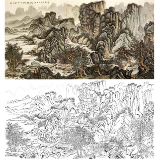 Meticulous painting, line drawing, manuscript, banner, landscape, Liu Yanshui, physical hook line print draft 66*124 with color picture 754T