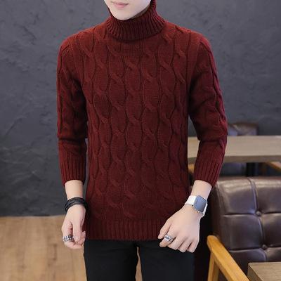 Kết hợp áo len mùa đông nam áo len cao cổ tay dài áo len rắn áo thun cơ sở áo len thanh niên giản dị quần áo nam - Kéo qua