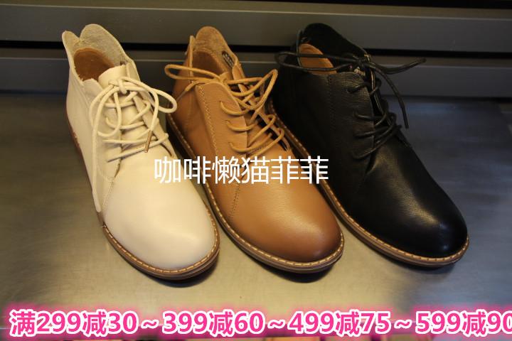西村名物2018年冬季X284S40271专柜正品深口圆头系带平底女单鞋