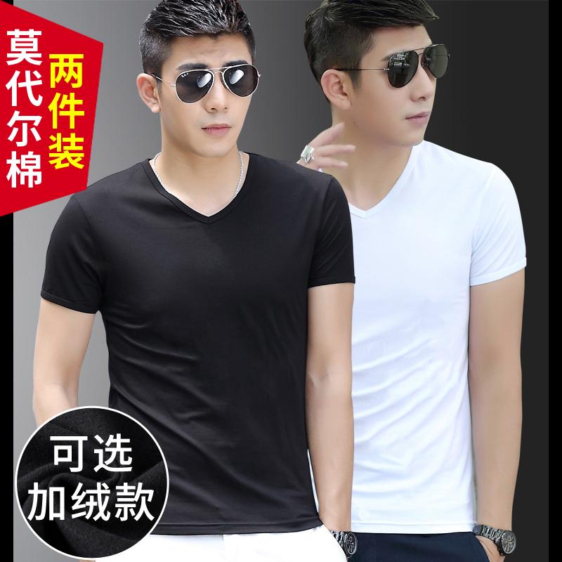 2 pieces】Modal cotton short-sleeved men's t-shirt white v-neck clothes trend men's plus velvet warm t-shirt