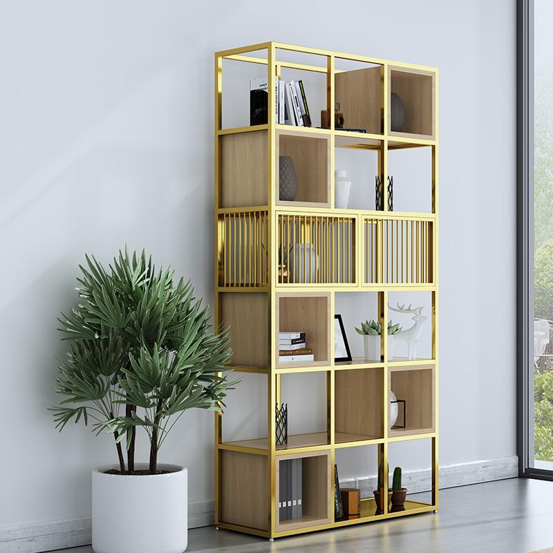 Office shelf Floor-to-wall entrance multi-layer storage shelf Creative Wrought iron display shelf Bookshelf partition screen
