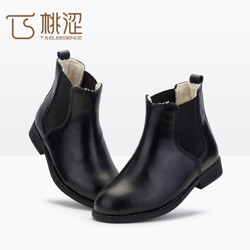 女童鞋公主真皮靴中大童二棉鞋宝宝切尔西短靴秋冬季儿童马丁靴子
