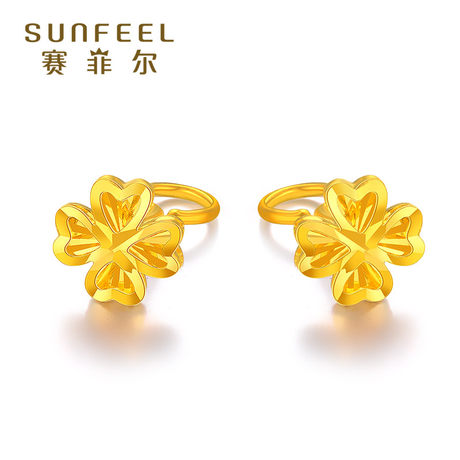 Safir four-leaf clover gold earrings 999.9 pure gold earrings new products show big gold earrings pure gold holiday gifts