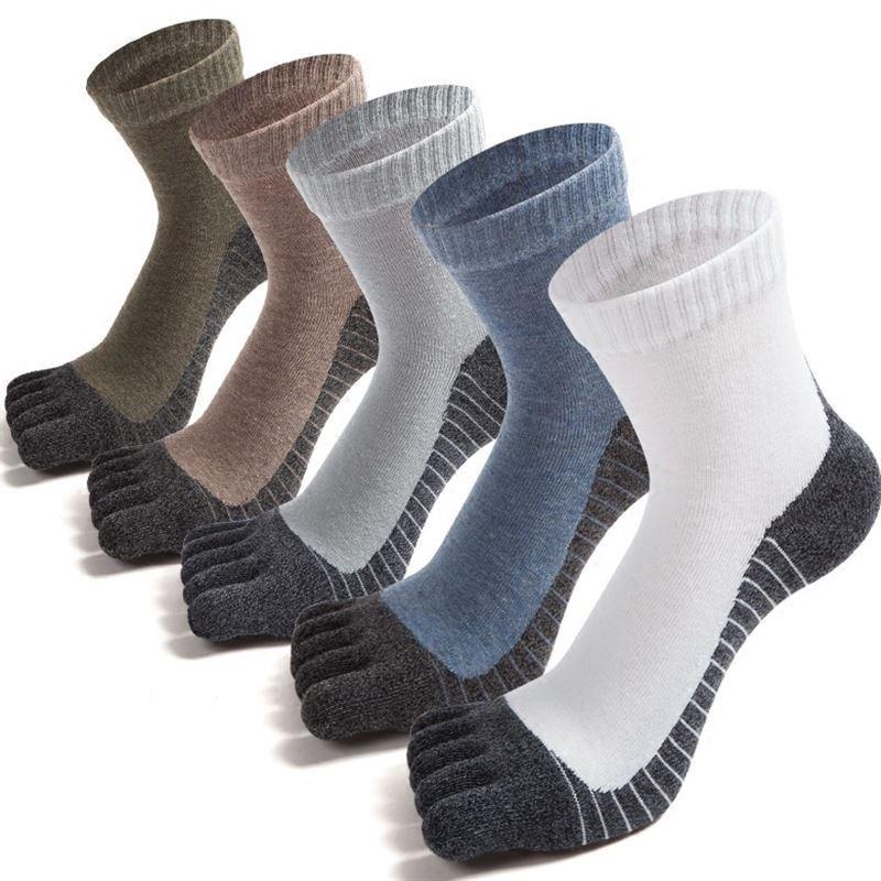 秋季纯棉五指袜子保健袜男脚趾中筒高帮分男士吸汗防臭新品袜