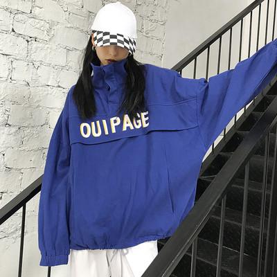 春季ulzzang原宿字母宽松立领中长bf嘻哈套头工装外套卫衣学生女
