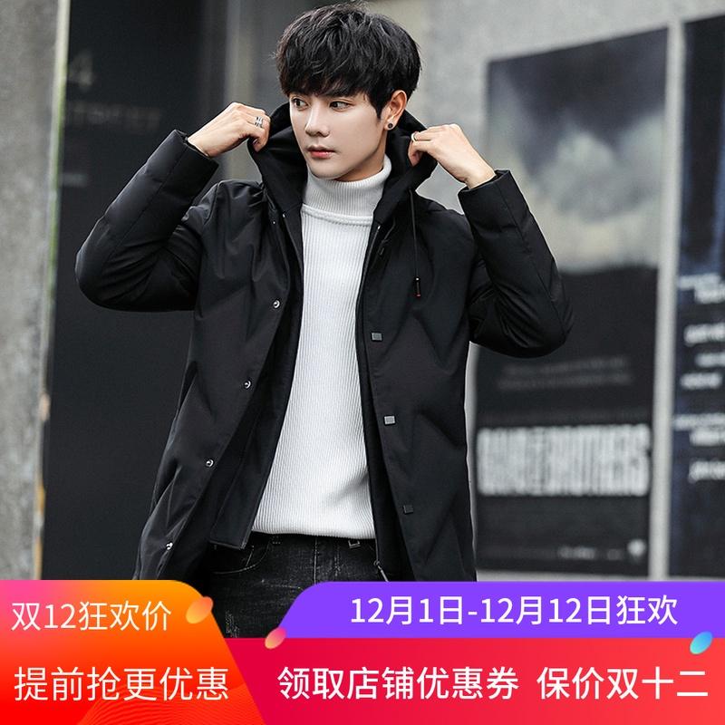 GXG Jmoon 冬季羽绒服男中长款韩版新款帅气青年加厚男士冬装外套
