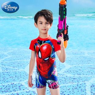 迪士尼儿童泳衣男童连体分体防晒泳装中大童泳裤卡通蜘蛛侠游泳衣