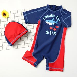 儿童泳衣男童 宝宝婴儿游泳衣中小童游泳裤连体泳装带帽长袖防晒