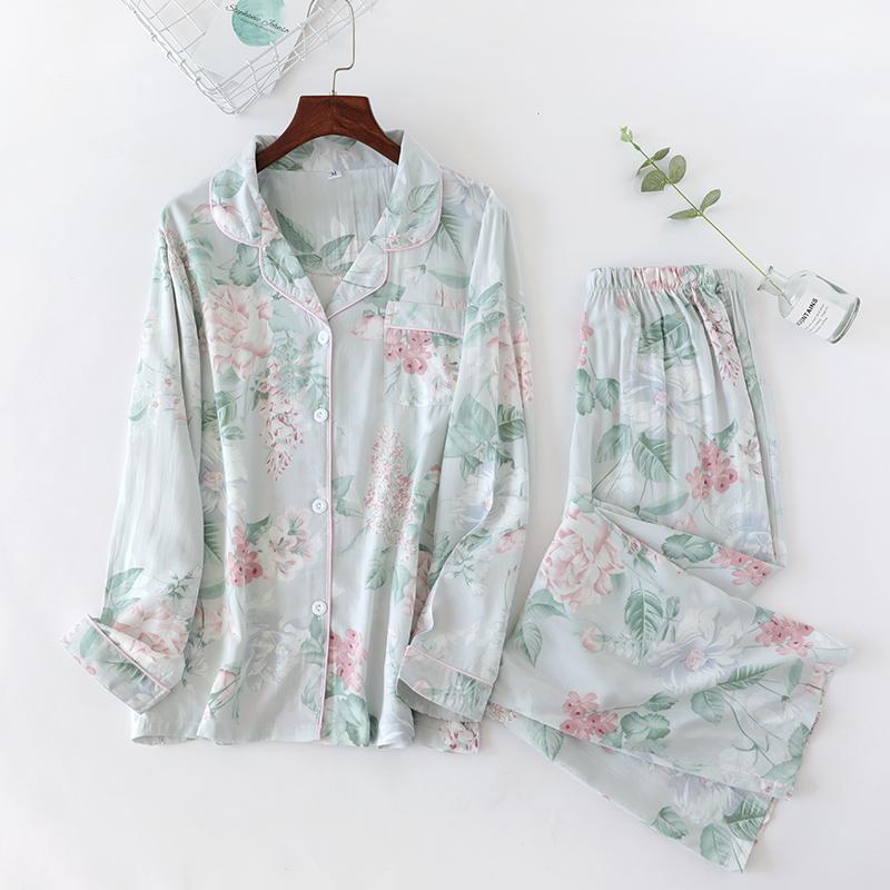 开衫睡衣女套装纯棉春秋夏季可外穿薄款人造棉长袖棉绸家居服人棉