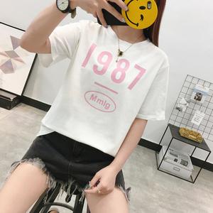3801#实拍夏季新款短袖T恤衫 女宽松休数字印花上衣(95...
