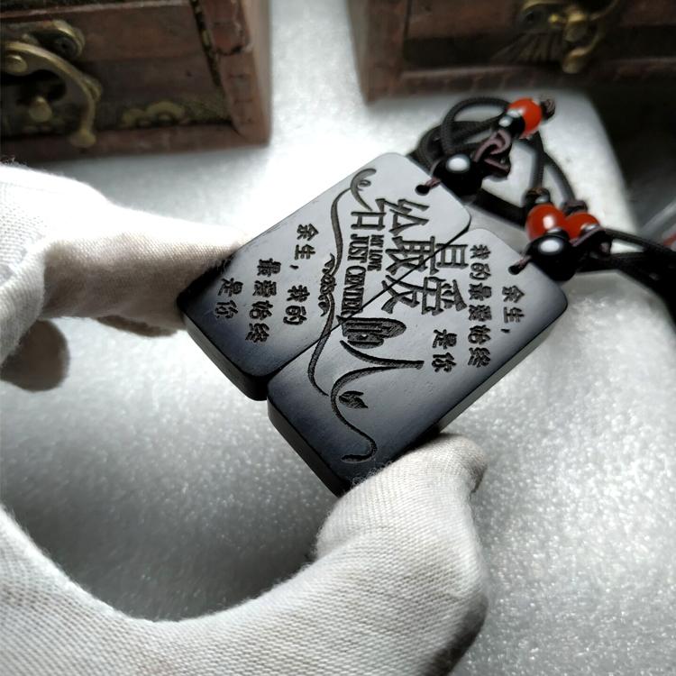 订做黑檀木情侣项链吊坠一对 免费刻字 纪念礼物挂件抖音快手同款