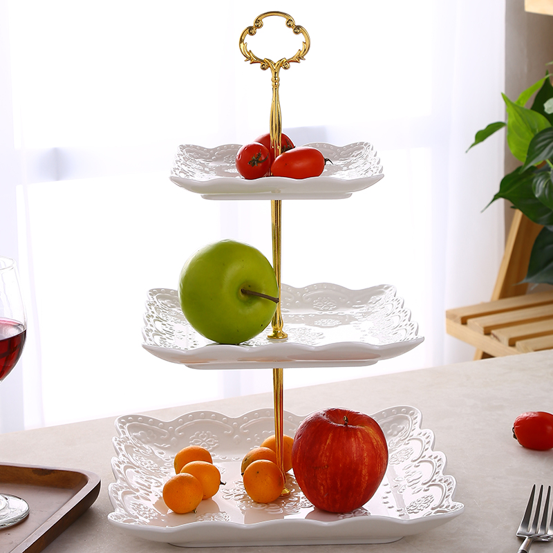 EMBOSSED SQUARE THREE-LAYER FRUIT PLATE [STRING]