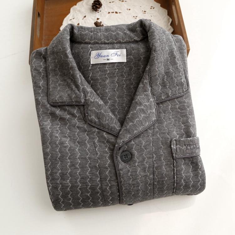 日单外贸跟单 精品棉绒锻 男士秋冬家居服睡衣套 带仿羊绒成分