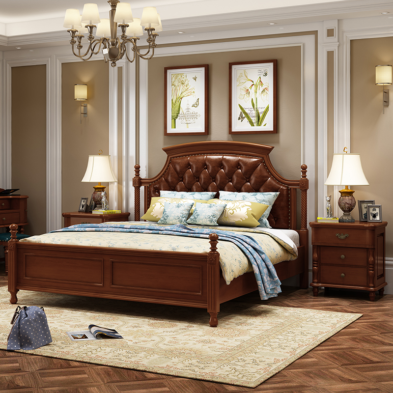 American bed modern simple luxury solid wood carved leather ...