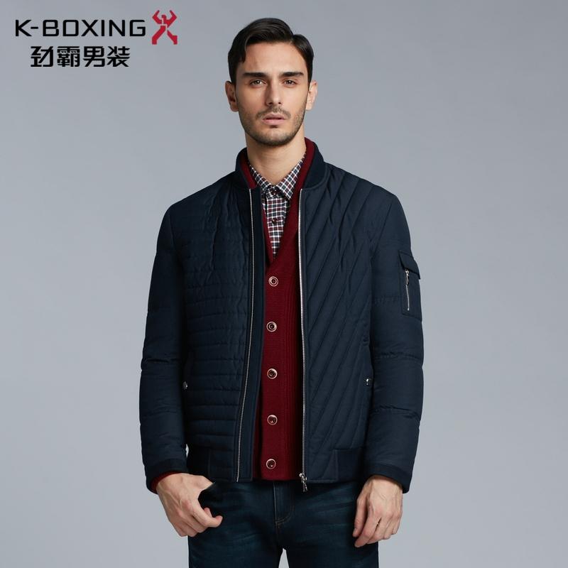 劲霸男装羽绒服 2018冬季新款 条纹保暖加厚外套男士短款羽绒夹克