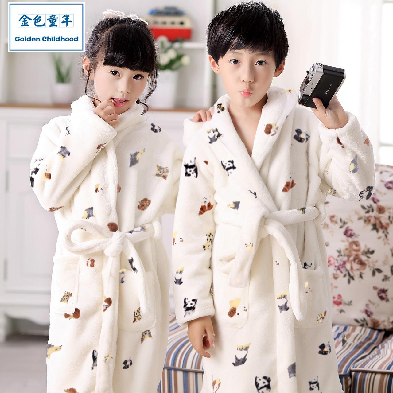 浴袍童装女童法兰绒珊瑚秋冬睡袍男童儿童睡衣绒中大童加厚家居服