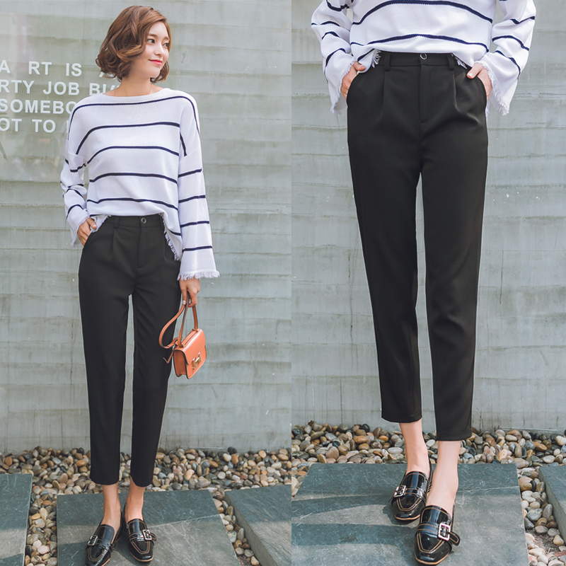 dcb126eac0dc Spring and autumn harem pants female fat fat mm was thin cone casual suit  pants female Korean version of the high waist feet nine pants tide
