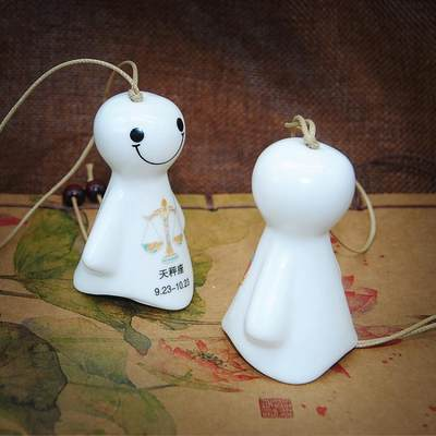 Jingdezhen ceramic jewelry Japanese original wind chime Sunny Doll pendant student Zodiac 12 constellation package