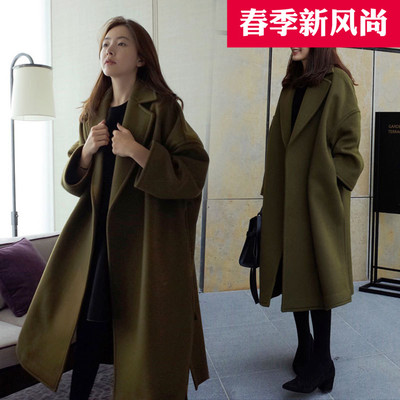 Woolen jacket female long paragraph Korean version of the new 2017 autumn and winter large size loose women Harajuku wind woolen coat