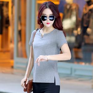2019新款韩版纯色夏季女装短袖t恤女士简约宽松v领打底衫百搭体恤