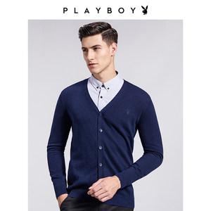 花花公子针织衫开衫男士长袖薄款毛衣外套春季新款休闲修身男装