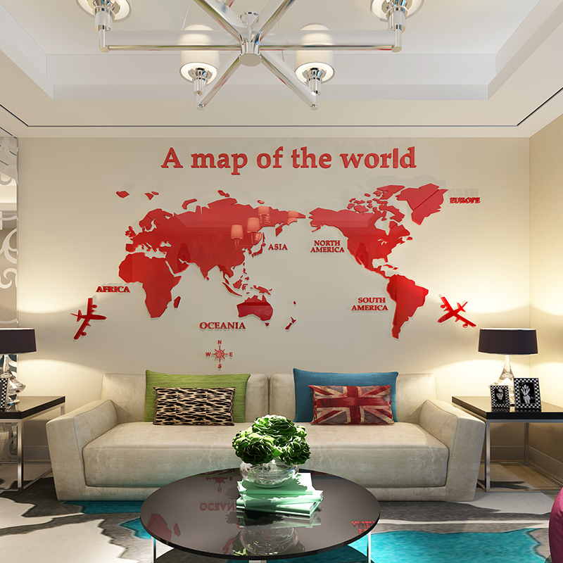 World Map Acrylic 3d Wall Sticker Living Room Sofa Background Office Decoration
