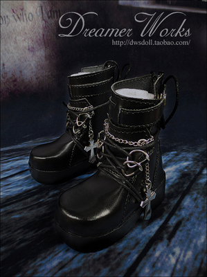 taobao agent SD/BJD 4 points 3 points doll shoes PUNK cross-black lace-up ankle boots 1/4, 1/3