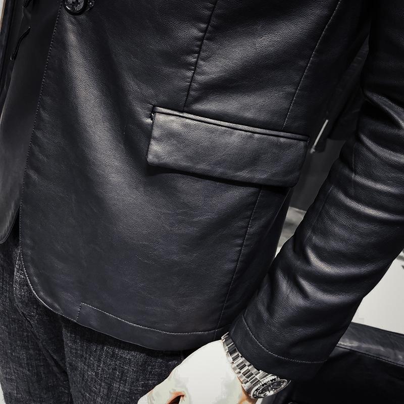 19西装新款商务外套领韩版修身加肥加大男士皮衣v西装皮秋冬大码