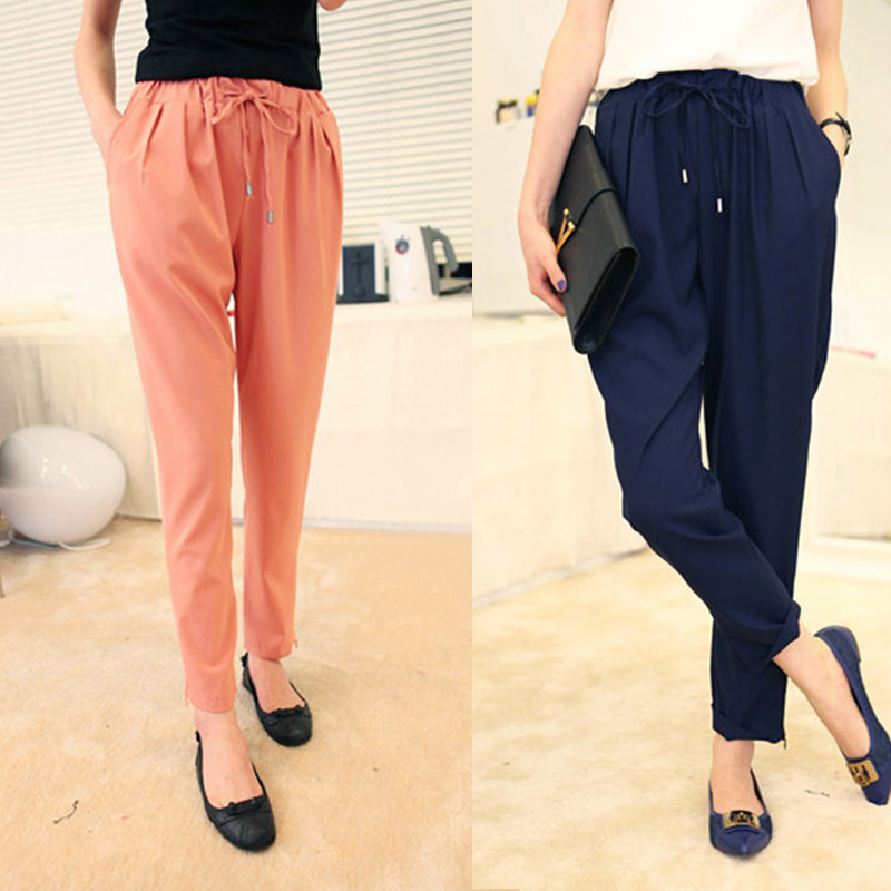 Chiffon trousers female summer 2018 new summer thin section loose large size casual female pants was thin feet harem pants