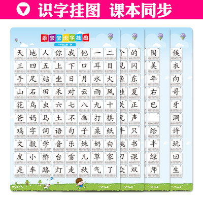 Literacy Wall Chart Children's Learning New Words People's Education Edition Primary School First Grade Textbook Synchronous Recognition