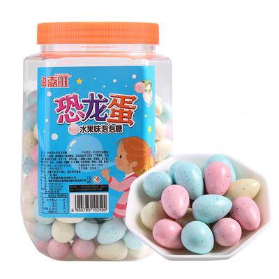 海嘉旺夹心恐龙蛋水果味柠檬味泡泡糖桶装香糖怀旧零食