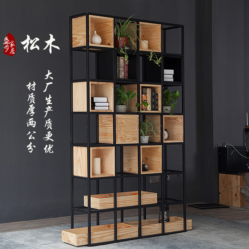 Restaurant Floor Racks Living Room Partition Lattice Shelf Bookshelf  Creative Wrought Iron Wood Lattice Cabinet Office Bookcase