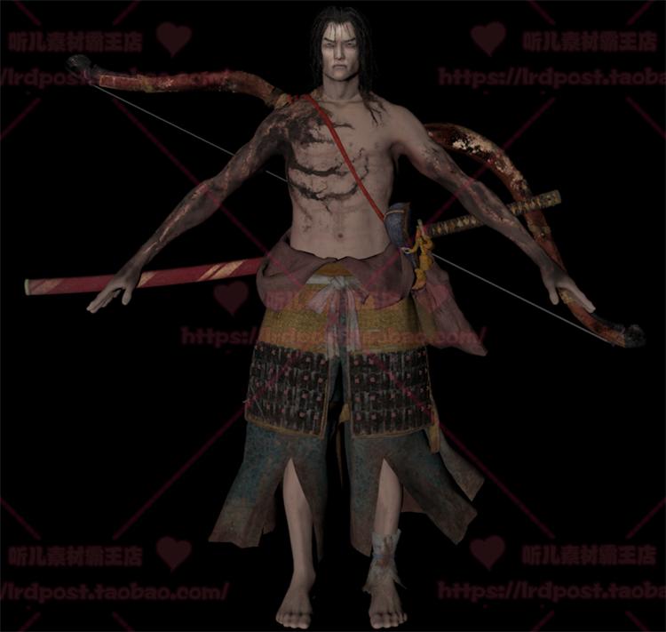 只狼 游戏美术资源 日韩风写实次世代角色3D模型MAX源文件带骨骼