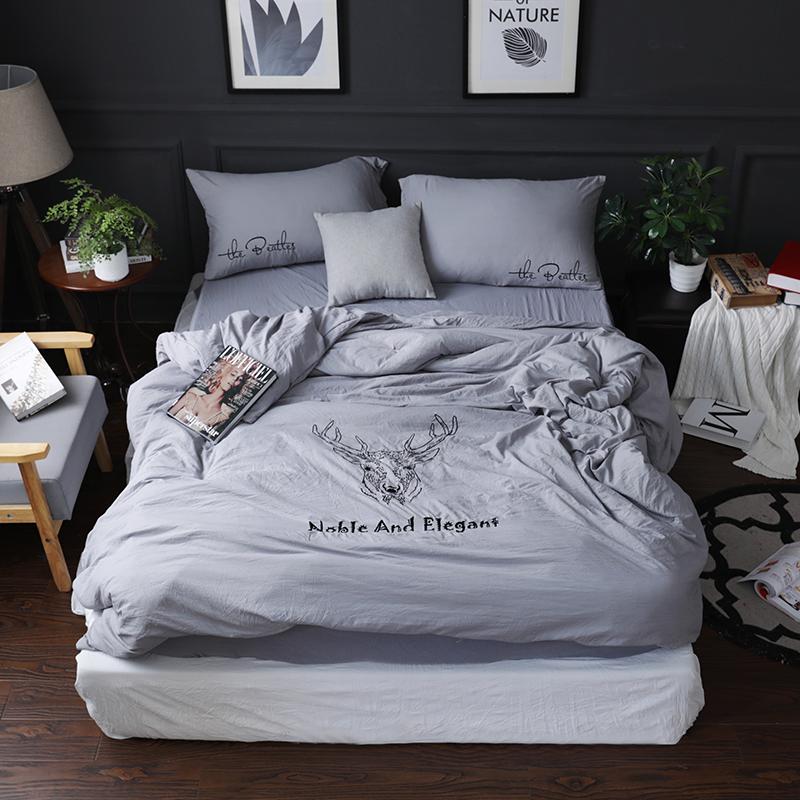 水洗棉四件套1.5米1.8m床单被套纯色简约小清新北欧床上用品套件