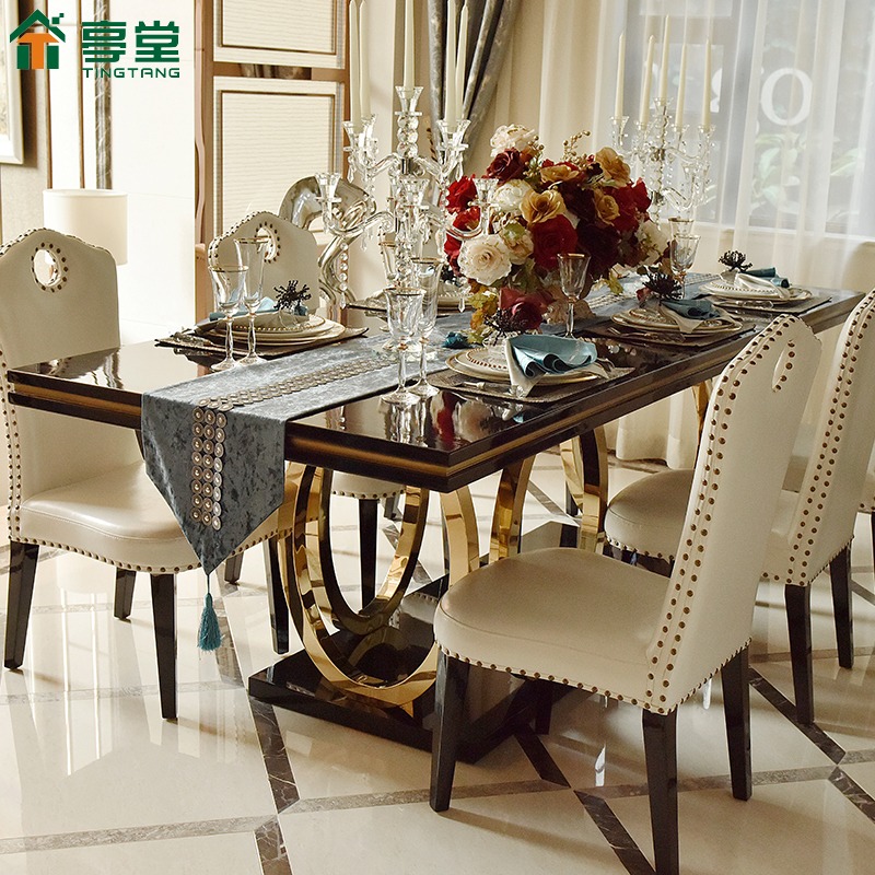 Новый классическая после современный свет экстравагантный обеденный стол стул сочетание прямоугольник нержавеющей стали 8 человек западный простой порт тип ветер сетка мебель