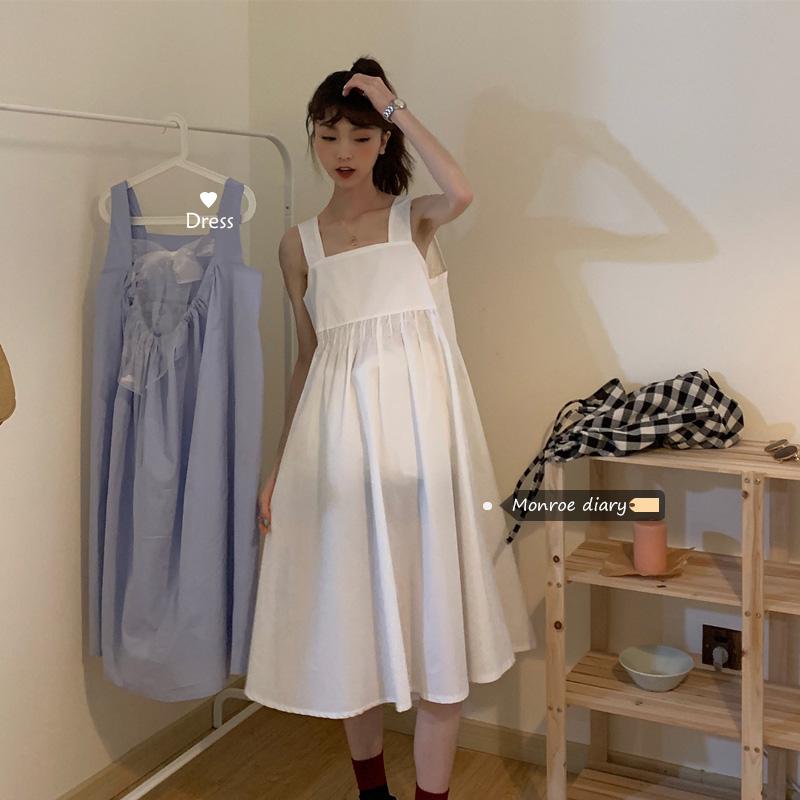 Tình yêu đầu tiên váy trắng nhỏ 2020 mùa hè mới của phụ nữ váy lỏng phong cách đại học váy giữa chiều dài dây váy - Váy eo cao