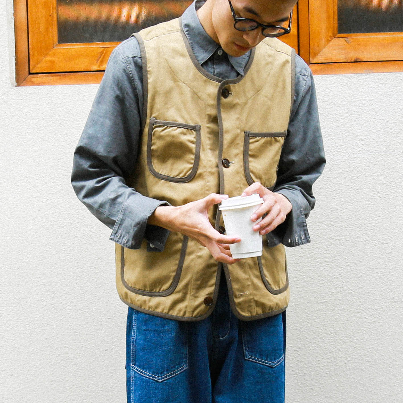 Retro vest复古撞色包边日系工装马甲背心男女BF风