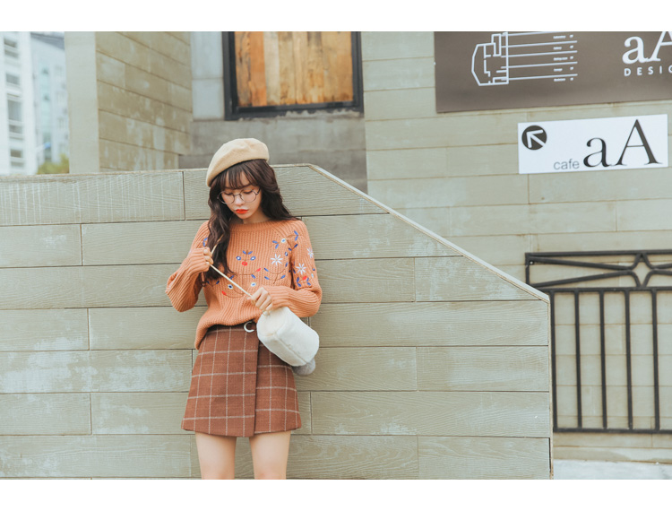 19 Women'S Ulzzang Autumn And Winter Harajuku Thickened Woolen Plaid Retro Skirt Female Cute Japanese Kawaii Skirts For Women 11