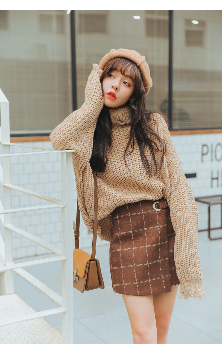 19 Women'S Ulzzang Autumn And Winter Harajuku Thickened Woolen Plaid Retro Skirt Female Cute Japanese Kawaii Skirts For Women 1