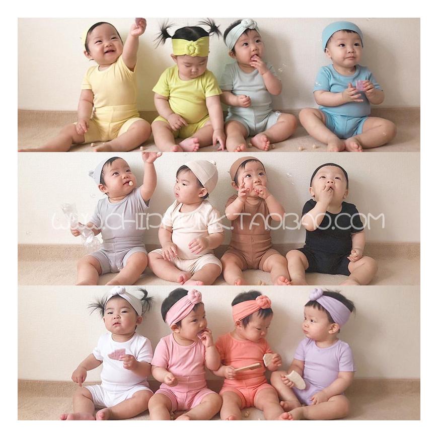 花栗鼠韩国进口童装代购20夏男女宝宝婴幼儿童妈妈纯棉家居服套装