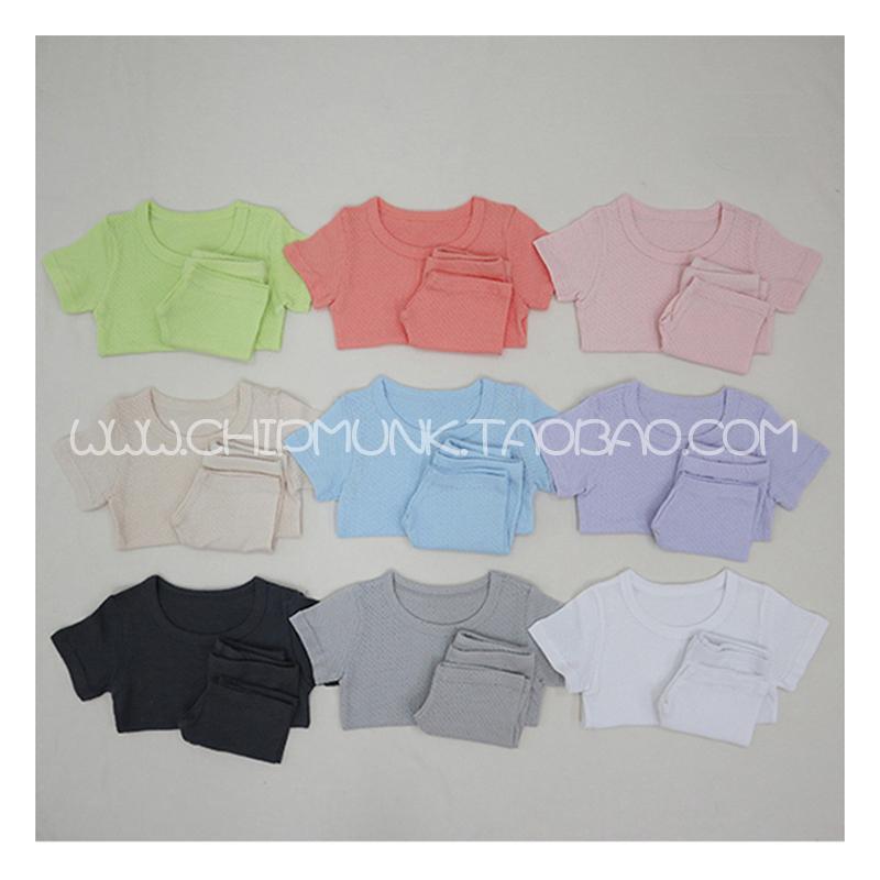 花栗鼠韩国进口童装代购20夏男女宝宝儿童透气呼吸纯棉家居服套装