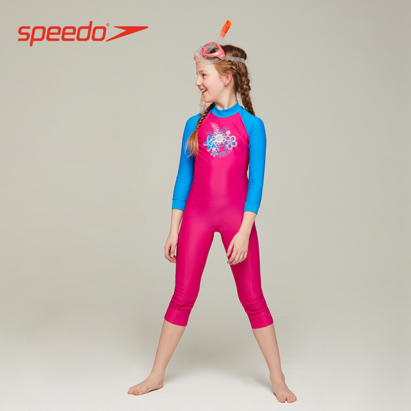 fa9a73be24f Speedo speed than the wave of children long-sleeved one-piece sunscreen  women in children comfortable chlorine long sunscreen swimsuit
