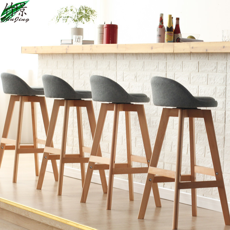 Enjoyable Usd 90 93 Bamboo Jing Solid Wood Bar Chair Simple Rotating Machost Co Dining Chair Design Ideas Machostcouk