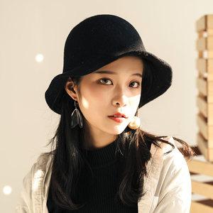 帽子女秋冬时尚渔夫帽羊毛呢针织保暖毛线盆帽日系韩版大头围冬帽